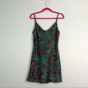 VTG Roses Mini Slip Dress Red & Green S